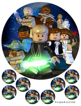 Lego Star Wars ,Cake and Cupcake Toppers, Darth Vader,Luke, Hans Solo, Princess, Light Saber