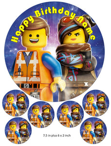 Lego Movie Cake and Cupcake Toppers, Personalised, Emmet, Lucy, Batman, Benny