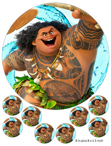 Maui Cake and Cupcake Topper, Moana, Birthday, Disney, Movie