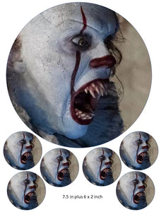 Pennywise Cake and Cupcake Toppers, Halloween, Birthdays, IT