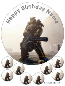 Fallout Cake and Cupcake Toppers, Personalised, Birthdays, Mini Gun, Power Armor, Xbox, PlayStation