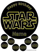 Star Wars Cake and Cupcake Toppers, Darth Vader, Luke, Hans Solo, Princess, Personalised