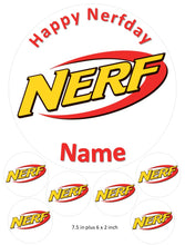 Happy Nerfday cake and cupcake toppers, Birthday, children, Shooting Game, Darts, Gun