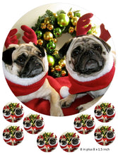 Pug Christmas cake and cupcake toppers, Dog, Snow, Father Christmas