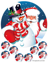 Santa and Snowman cake and cupcake toppers, Christmas, Snow, Father Christmas