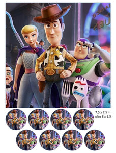 Toy Story cake and cupcake toppers, Woody, Buzz, Jessie, Little Bo Peep, T-Rex, Disney, 4