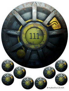 Vault 111 Cake and Cupcake Toppers, Fallout, Gaming, Xbox, PlayStation, Power Armour, Mr Handy