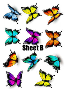 Butterfly cake and Cupcake toppers, Multicoloured, Birthdays, Easter, Sheet B