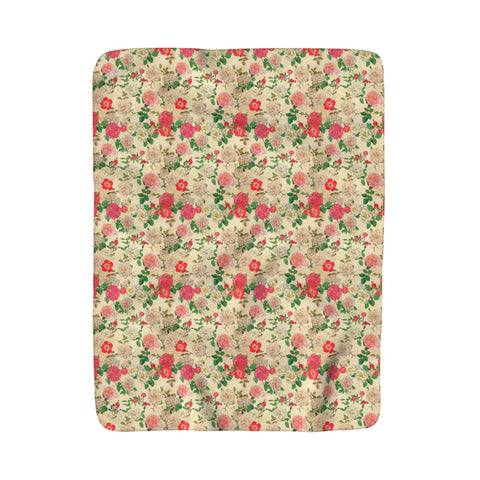 Antique Floral Sherpa Fleece Blanket