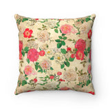 Antique Floral Faux Suede Square Pillow