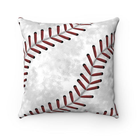 Baseball Stitches Faux Suede Square Pillow