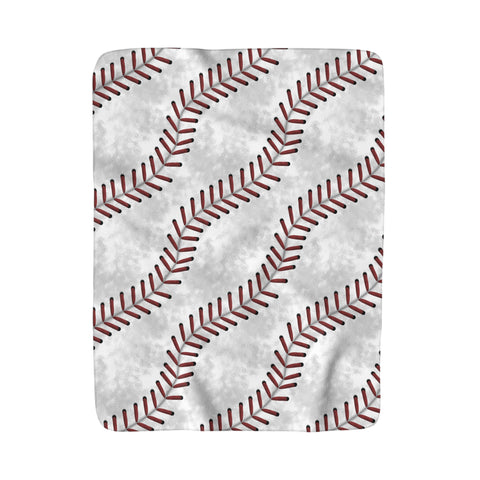 Baseball Stitches Sherpa Fleece Blanket