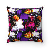 Vintage Floral Faux Suede Square Pillow
