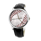 Baseball Stitches 30 Meters Waterproof Quartz Fashion Watch With Black Genuine Leather