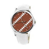 Football Stitches 30 Meters Waterproof Quartz Fashion Watch With White Genuine Leather