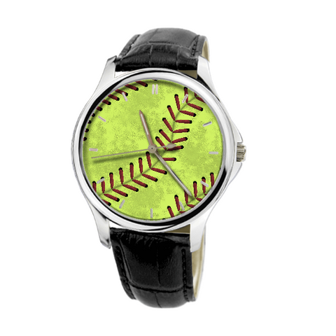 Softball Stitches 30 Meters Waterproof Quartz Fashion Watch With Black Genuine Leather