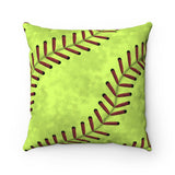SoftBall Stitches Faux Suede Square Pillow
