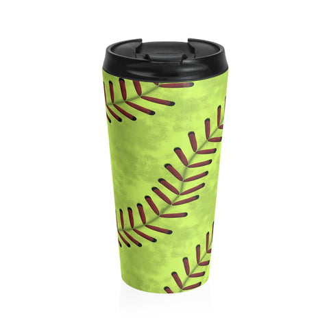 Softball Stitches Stainless Steel Travel Mug