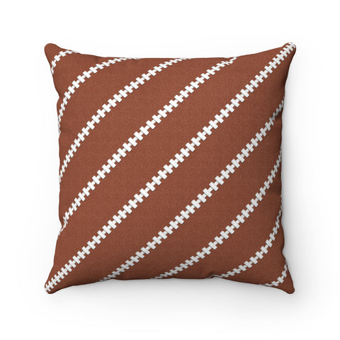 Football Stitches Faux Suede Square Pillow
