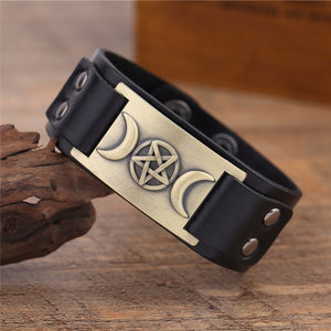 Multiple colors to choose from - Triple Moon Goddess Wicca Pentagram Magic Amulet Genuine Black/Brown Color Leather Bracelet