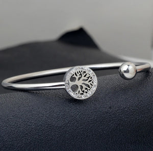Stainless Steel Crystal Tree of Life Charm Bracelet