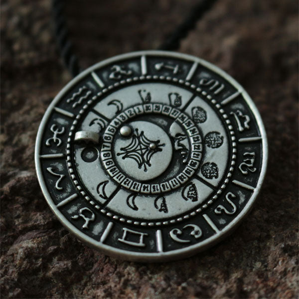 Ancient Moon Phase Talisman Necklace With Runes