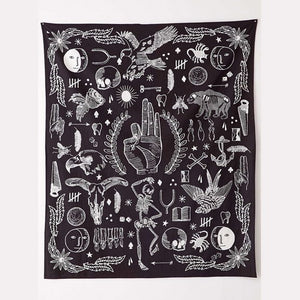 Witchy Hand tapestry Black White Wall Art
