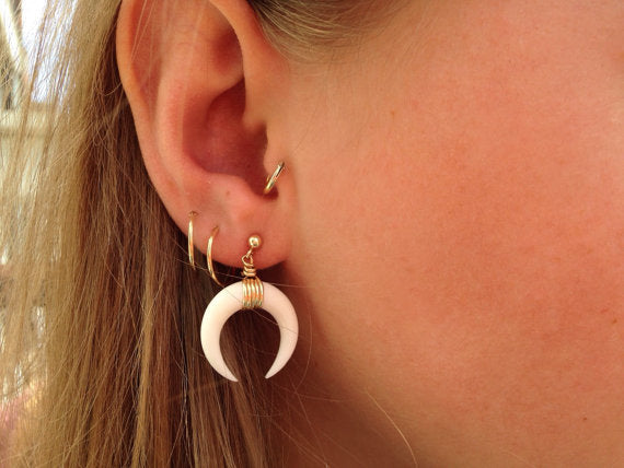 Antique Silver Gold Color Ox Horn Stud Earring Tribal Festival Jewelry