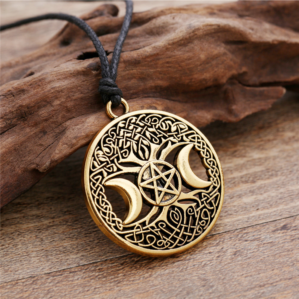 NEW CUSTOMER SPECIAL Celtic Knot Triple Moon Goddess Pentacle adjustable rope chain pendant necklace