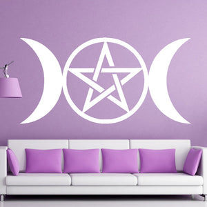 Hot SaleTriple Moon wall Sticker Goddess Wicca Pentacle Art Decor Decal Mural Vinyl