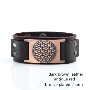 Beautiful And Powerful Flower of Life Sigil Enochian Amulet Leather Bracelet