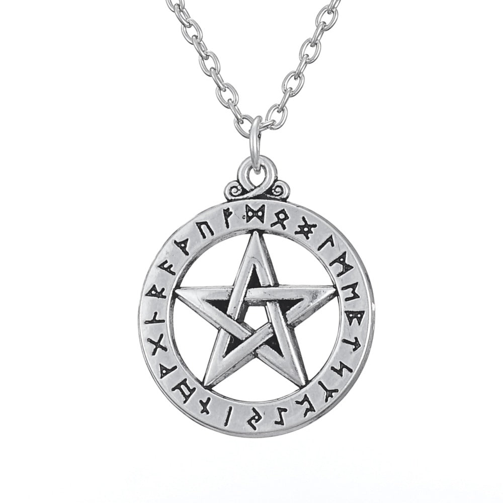 Rune Alphabet pentacle Antique Silver Plated Pendant Slavic Wiccan Necklace