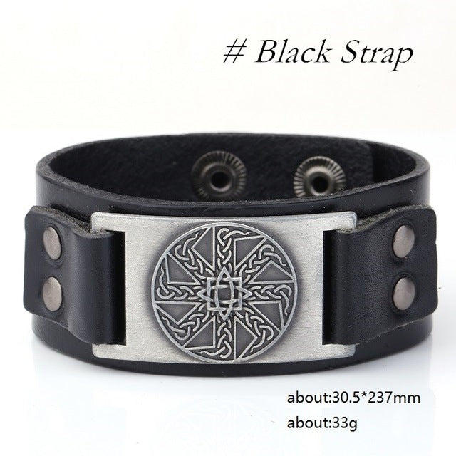 Kolovrat Slavic Irish Knot Badge Medieval Mythology Viking Amulet Seals Charm Wristband Cuff Leather Bracelets