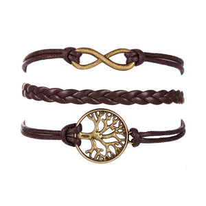 Tree Multilayer Knit Leather Rope Chain Charm Bracelet