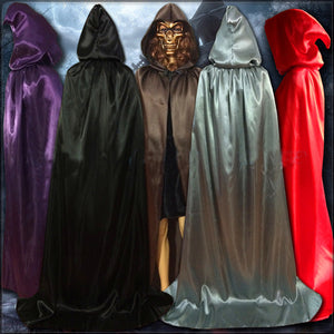 5 Colors to Choose From - Gothic Hooded Stain Cloak Wicca Robe Witch Cape Women Men size S M L XL