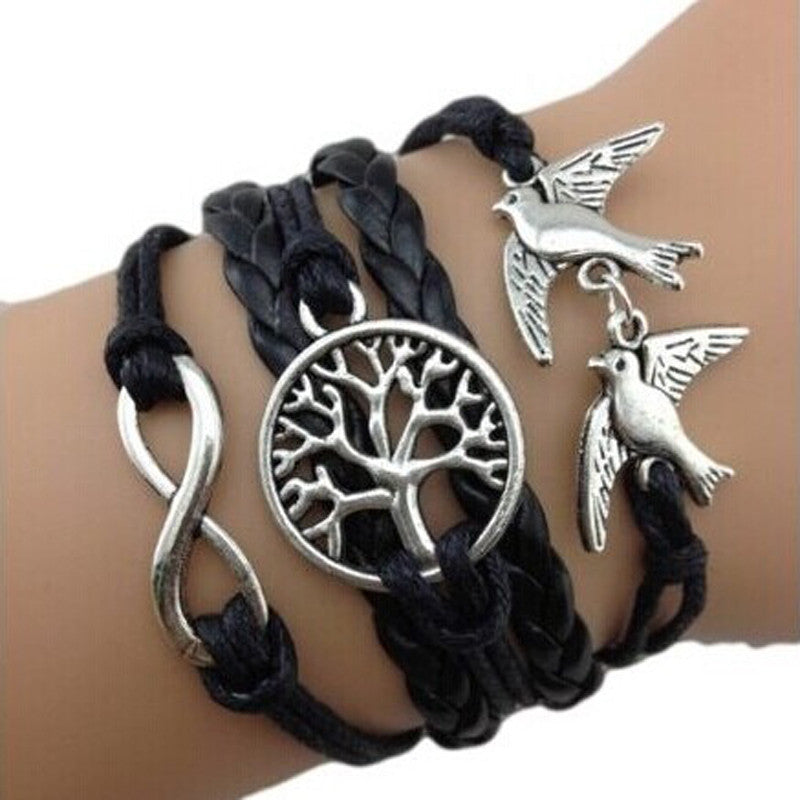 Handmade Adjustable 8 Tree Pigeon Multilayer Bracelet