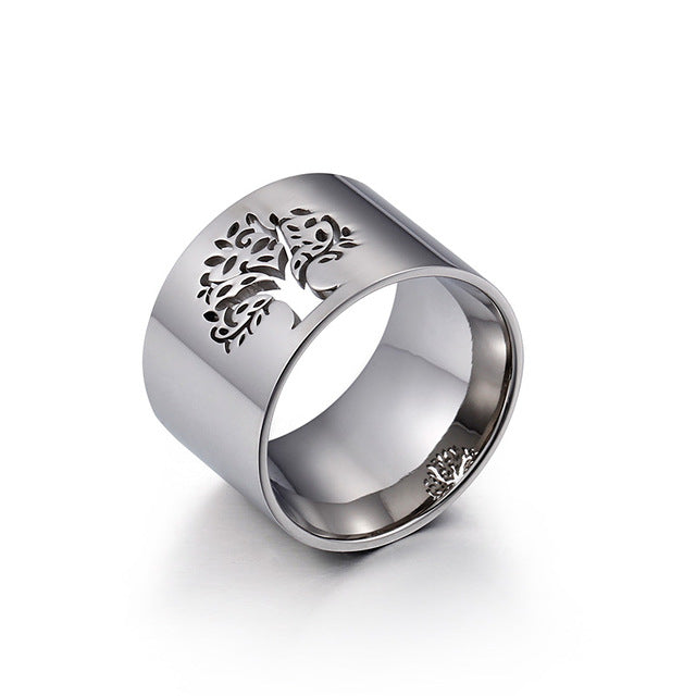 Stainless Steel Bulgaria Tree of Life Ring - Gold or Silver