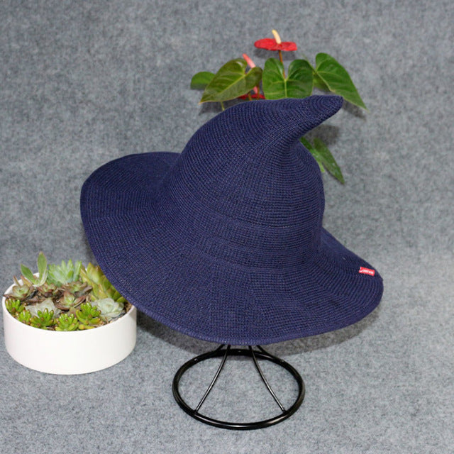 Cotton Witch Hat - Wide Brim - Knitted