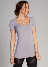 Bamboo Double Scoop Neck Cap Sleeve Top
