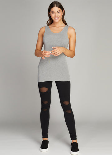 Slit Knee Insert Mesh Legging