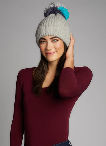 Knit Hat W/Multi Yarn Pom Pom