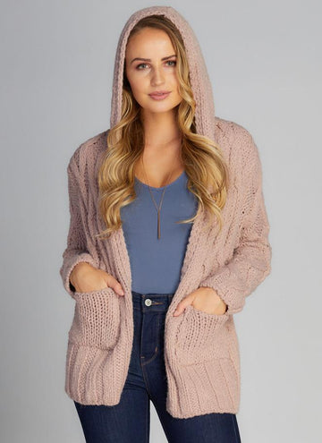 Cable Knit Cardi w/Hoodie