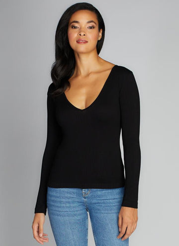 Seamless Rib Deep V Neck Top