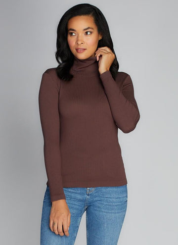 Seamless Rib L/S Turtleneck Top