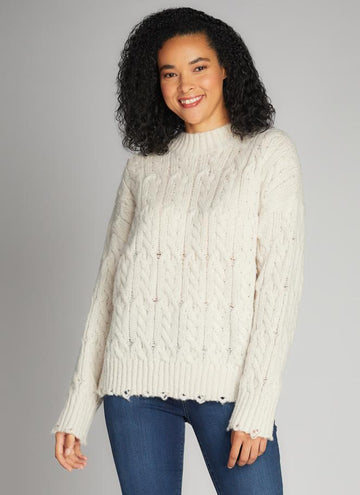 Cut Edge Mock Neck Sweater