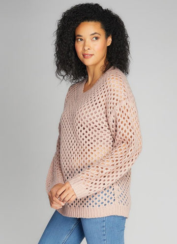 Net Pattern V Neck Sweater