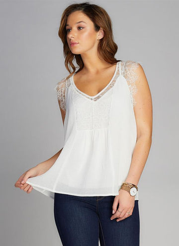 Two Piece Lace Trim Top