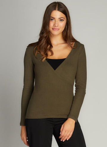 Rayon Soft Knit Wrap Front Top