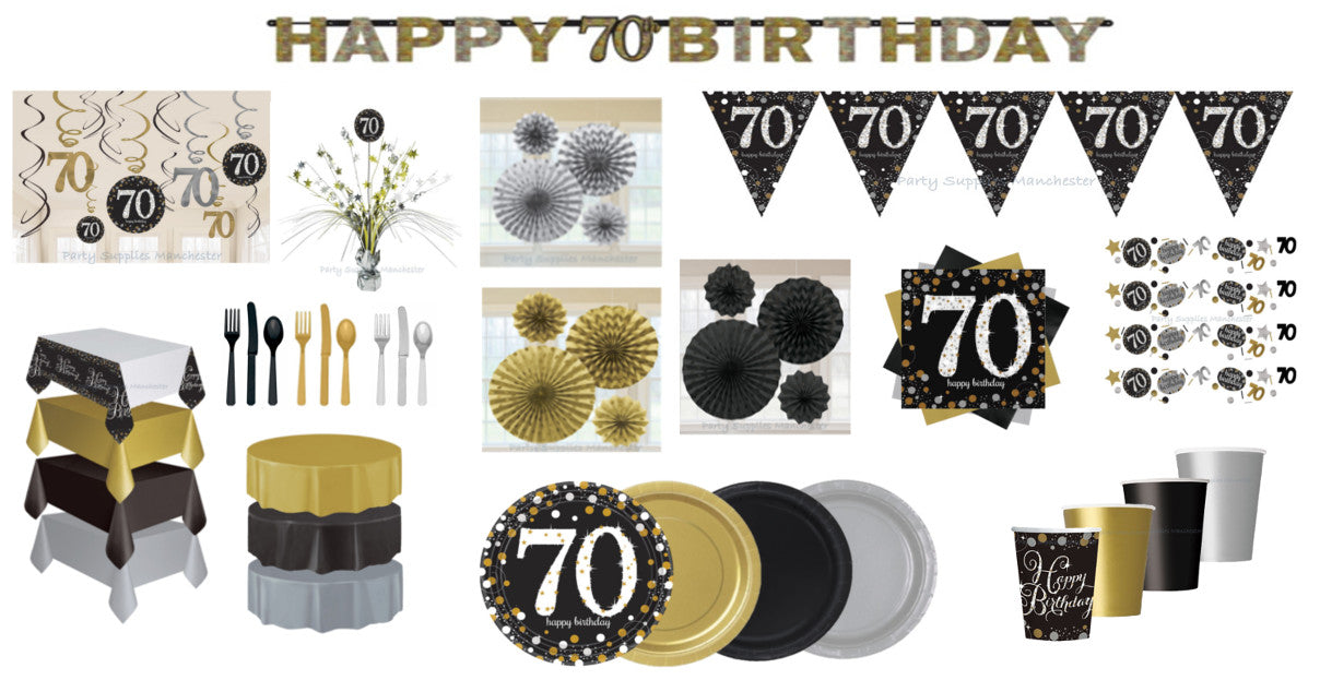 70th Birthday Gold Celebration Range Plates Cups Napkins Cutlery Decorations Banners Bunting