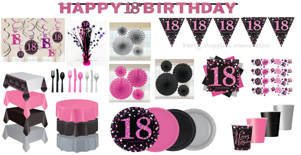 18th Birthday Pink Celebration Range Plates Cups Napkins Cutlery Decorations Banners Bunting
